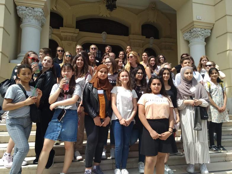 Foto de grupo en el Ayuntamiento de Málaga.